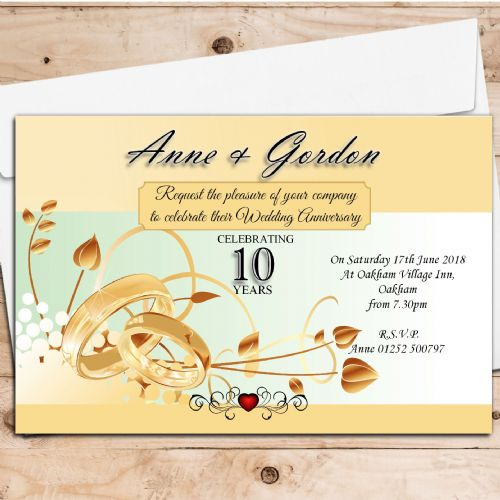 10 Personalised Gold Rings Wedding Anniversary Invitations N4 - Suitable for any year